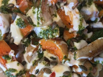 squash, red onion and tahini salad made by Feast - Far Flung Flavours